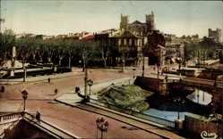 Postcard Narbonne Aude, Les Trois Ponts, Entree de la Ville, Monument Ferraul
