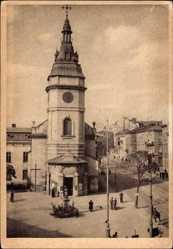 Postcard Lwów Lemberg Ukraine, Anna Kirche, Wohnhäuser, Straße