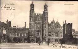 Postcard Eton South East England, View of Eton College, facade, clock