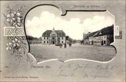 Passepartout Ak Dębno Neudamm Neumark Ostbrandenburg, Marktplatz mit Rathaus