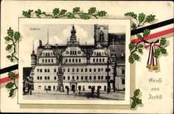 Postcard Zerbst in Anhalt, Blick auf das Rathaus, Vorderansicht
