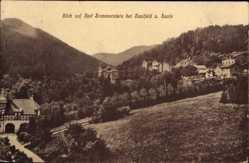 Postcard Saalfeld, Blick auf Bad Sommerstein, Stadtansicht, Berge, Tal, Straßen