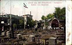 Postcard Hamburg Altona, Gasthaus Elbschlucht, Inh. A. Breckwoldt, Terrasse