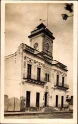 Postcard Nogoya Argentinien, Ansicht vom Rathaus, Turmuhr