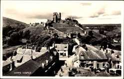 Postcard Corfe Castle South West, Burgruine, Teilansicht vom Ort