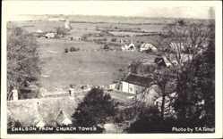 Postcard Chaldon South East, View from Church Tower, Blick vom Kirchturm auf den Ort