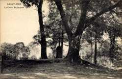 Postcard Saint Prix Val d'Oise, La Croix St. Jacques, Kreuz im Wald