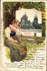 Passepartout Ak Erfurt in Thüringen, Dom und Severikirche, nachdenkliche Frau