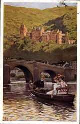 Künstler Ak Hey, Paul, Heidelberg am Neckar, Ruderboot, Schloss