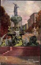 Künstler Ak Berlin Tiergarten, Blick auf Herkules Brunnen, Lützowplatz