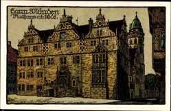 Steindruck Ak Hann. Münden Kreis Göttingen, Ansicht des Rathauses von 1605