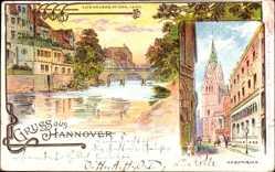 Litho Hannover in Niedersachsen, Alte Häuser an der Leine, Marktkirche