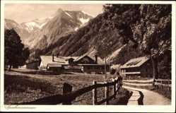 Postcard Spielmannsau Oberstdorf im Oberallgäu, Wegpartie, Häuser, Berge