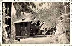 Postcard Ilmenau im Ilm Kreis Thüringen, Jagdhaus Gabelbach, Schnee, Winter