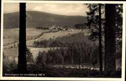 Postcard Bischofsgrün im Fichtelgebirge, Blick auf den Ort mit Schneeberg