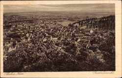 Postcard Thale im Harz, Gesamtansicht der Ortschaft, Wald, Häuser, Felder