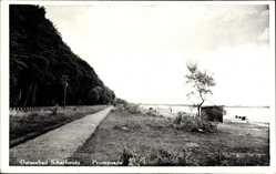 Postcard Scharbeutz in Ostholstein, Promenade, Weg, Wald, Gewässer, Wäscheleine