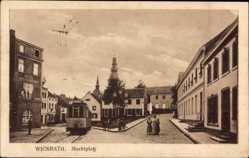 Postcard Wickrath Mönchengladbach im Ruhrgebiet, Straßenbahn, Marktplatz