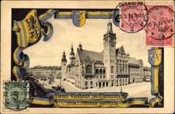 Wappen Passepartout Ak Chemnitz Sachsen, Neues Rathaus, Reiterstandbild