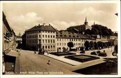 Postcard Schleiz im Vogtland Thüringen, Adolf Hitler Platz mit Teichstraße