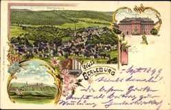 Litho Bad Berleburg Nordrhein Westfalen, Scloss, Ort im 16. Jh.