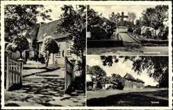 Postcard Owschlag in Schleswig Holstein, Kriegerehrung, Schule