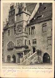 Postcard Neustadt in Sachsen, Spätgotisches Rathaus, Erker, Freitreppe