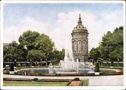 Postcard Mannheim, Friedrichsplatz mit Wasserturm, Fontänen