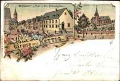 Litho Kettig Rheinland Pfalz, Wirtschaft zur Post, Bes, Pet. Bubenheim, Kirche