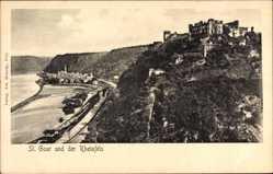 Postcard St. Goar im Rhein Hunsrück Kreis, Rheinblick mit der Burg Rheinfels