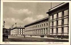 Postcard Berlin Mitte, Straßenpartie mit Blick auf die neue Reichskanzlei