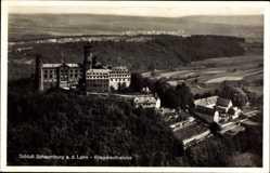 Postcard Balduinstein an der Lahn, Schloss Schaumburg, Fliegeraufnahme