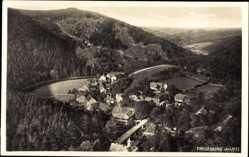 Postcard Treseburg Thale im Harz, Blick auf den Ort, Brücke, Fluss, Wald