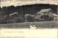 Postcard Friedrichroda im Thüringer Wald, Blick auf Restaurant zum Schweizerhof