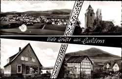 Postcard Caldern Lahntal, Gaststätte zum Rimberg, M. Münzel, Kirche, Geschäft