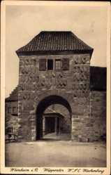 Postcard Weinheim an der Bergstraße, Wachenburg, Blick auf das Wappentor