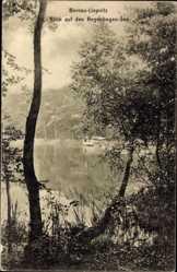 Postcard Bernau Liepnitz, Blick auf den Regenbogen See, Steg, Boot, Bäume
