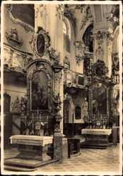 Postcard Andechs Oberbayern, Klosterkirche, Innenansicht, Altar, Johannes, Benediktus