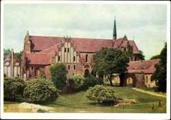 Postcard Chorin im Kreis Barnim, Blick auf das Kloster, Turm, Parkanlage