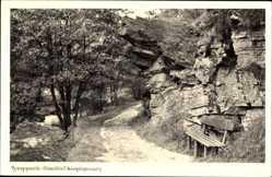 Postcard Alexisbad Harzgerode im Harz, Kügelgenweg, Bank, Fels, Gestein, Spazierweg