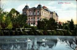 Postcard Gotha im Thüringer Becken, Blick auf das Museum, Teich, Schwäne