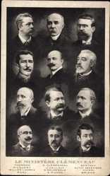 Postcard Le Ministère Clémenceau, Thomson, Picquart, Caillaux, Barthou, Viviani