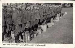 Postcard Nun sind wir Soldaten, der Zivilmensch ist eingepackt, Wehrmacht