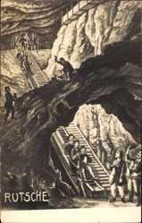 Künstler Ak Rutsche, Bergleute, Kohleabbau unter Tage
