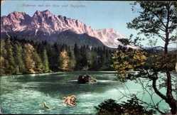 Ak Badersee mit der Seenixe und Zugspitze, Sage