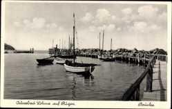 Postcard Lohme auf der Insel Rügen, Ostseebad, Brücke, Segelboote
