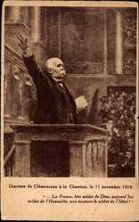 Postcard Discours de Georges Clemenceau a la Chambre, 11 Novembre 1918
