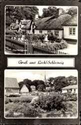 Postcard Leck Schleswig in Nordfriesland, Fischerhäuser mit Reetdach, Auepartie