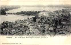 Postcard Hamburg Mitte, Blick auf die beiden Alstern, Fliegeraufnahme