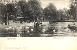 Postcard Hamburg Eimsbüttel Rotherbaum, Schwanenwiek, Schwäne, Passanten